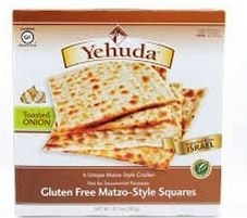 Yehudah Gluten Free Matzo Squares, Toasted Onion, 10.5 Oz (6 Boxes)