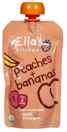 Ella's Kitchen Organic Baby Food - Peach & Banana, 3.5 Oz (6 Pouches)