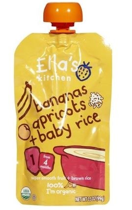Ella's Kitchen Organic Baby Food - Banana, Apricot & Baby Rice 3.5 Oz (6 Pouches)