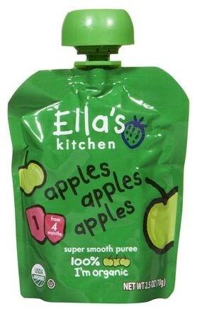 Ella's Kitchen Organic Baby Food - Apples, Apples, Apples, 2.5 Oz (6 Pouches)