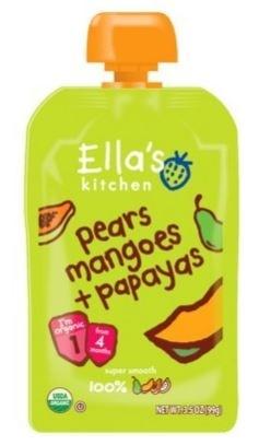 Ella's Kitchen Organic Baby Food - Pear, Mango, Papaya, 3.5 Oz (6 Pouches)