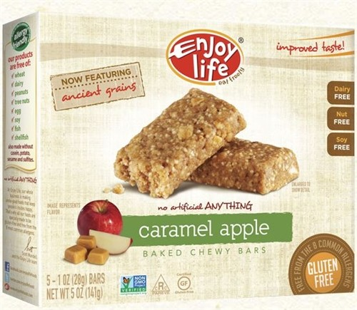 Enjoy Life Gluten Free Chewy Bar, Caramel Apple, 5 1-oz Bars (6 Boxes)