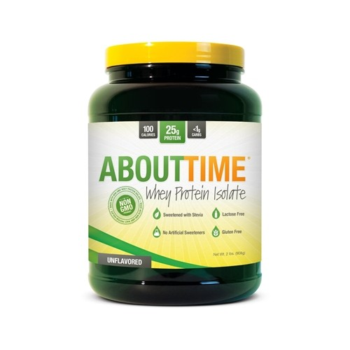 About Time Gluten Free Whey Protein Isolate, Unflavored, 2 lbs
