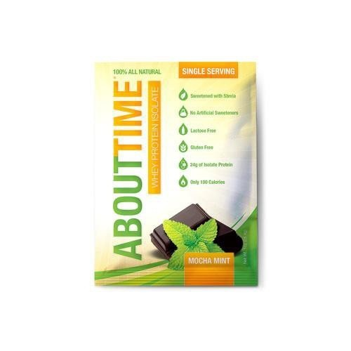 About Time Whey Protein Isolate, Mocha Mint, 1 Oz. (Case of 12)