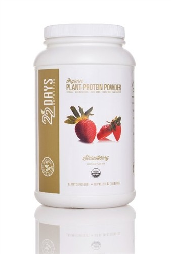 22 Days Nutrition Plant Protein Powder, Strawberry, 28.6 oz