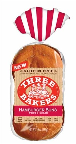 Three Bakers Gluten Free Whole Grain Hamburger Buns