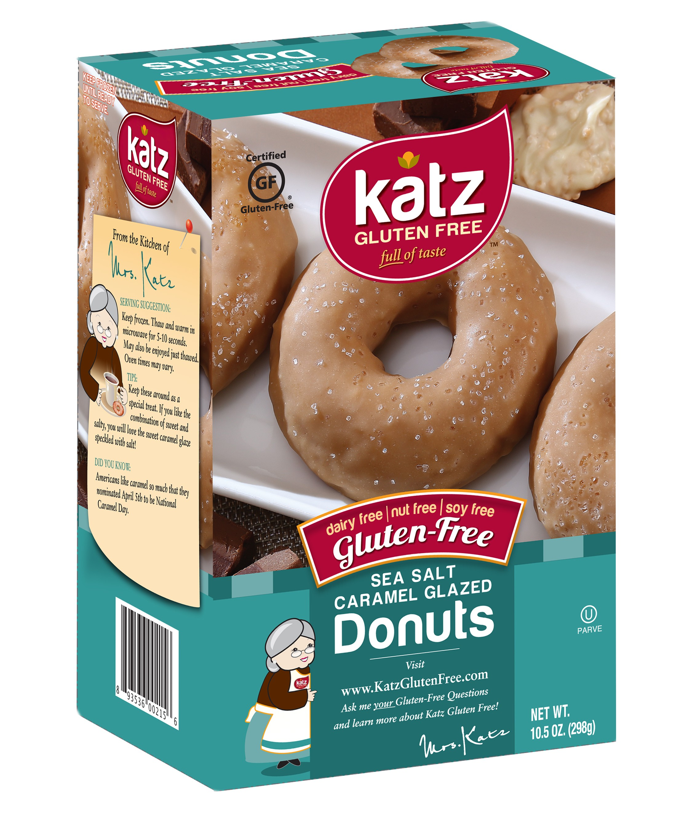 Katz Gluten Free Sea Salt Caramel Donuts, 10.5 0z (Case of 6)