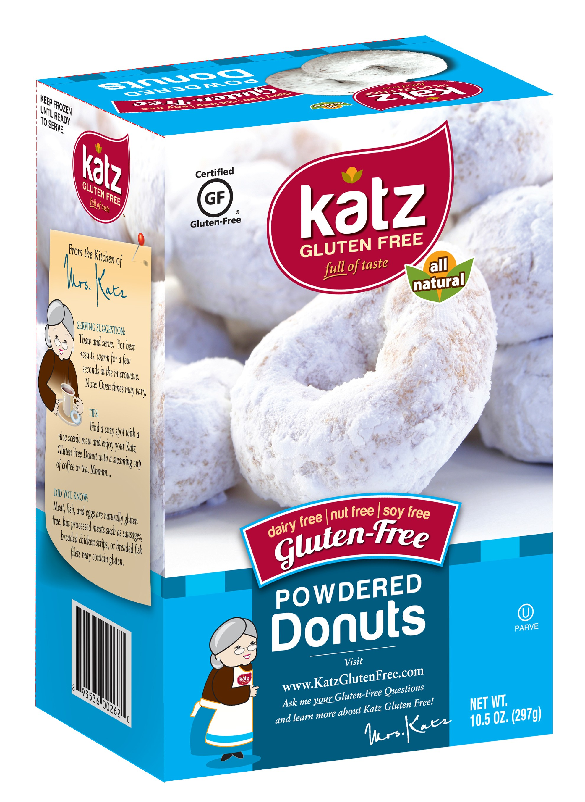 Katz Gluten Free Powdered Donuts [Case of 6]