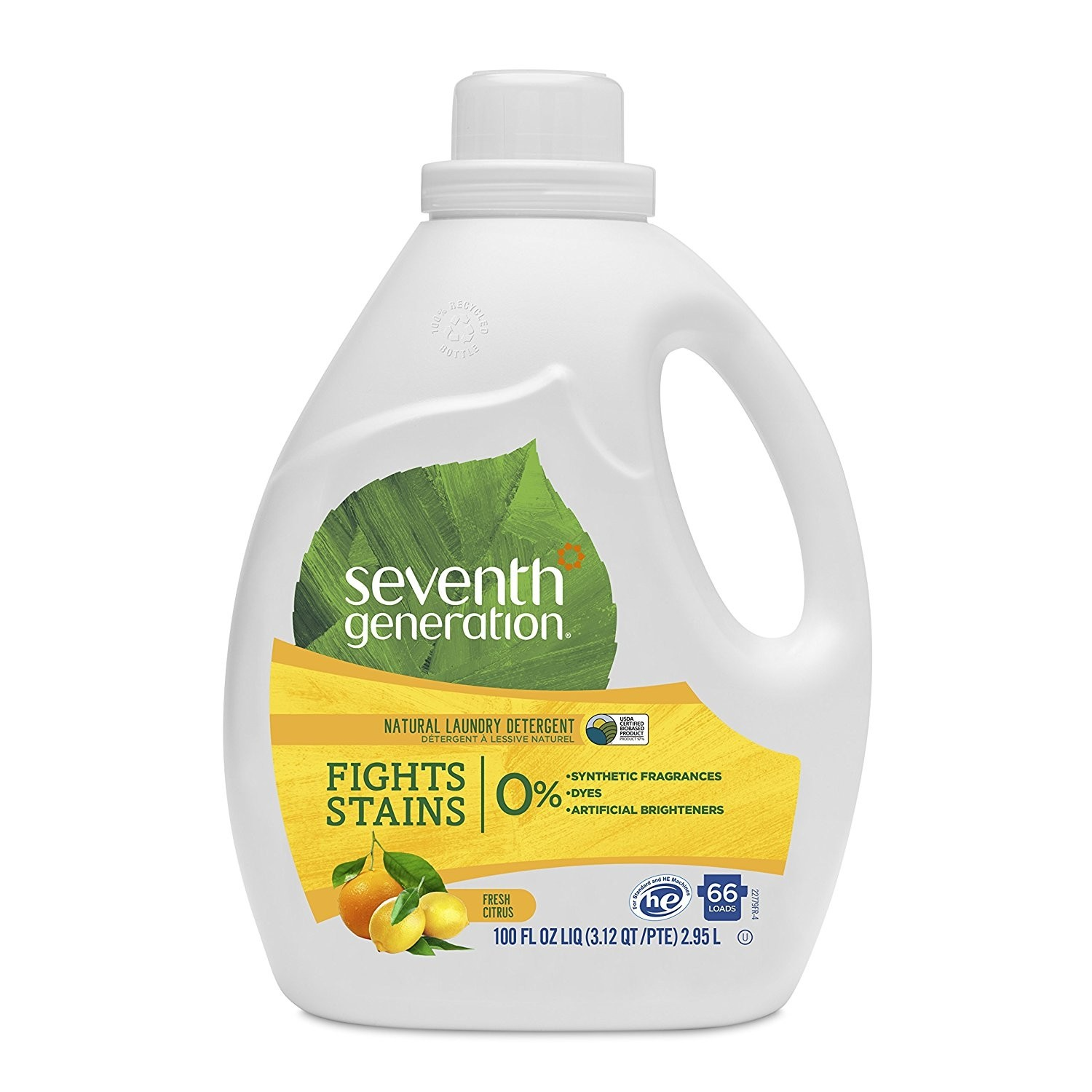 Seventh Generation Natural Laundry Detergent, Fresh Citrus Breeze, 100 Oz