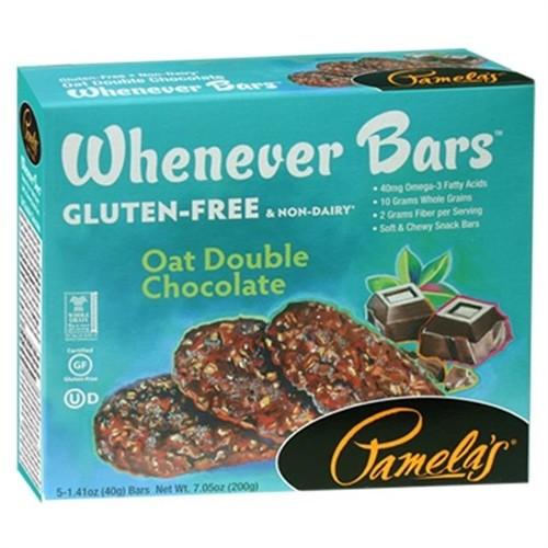 Pamela's Gluten Free Whenever Bars, Oat Double Chocolate, 5 Bars per box [Case of 6]