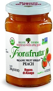 Fiordifrutta Organic Jam Spread, Peach, 8.82 OZ (Case of  6)