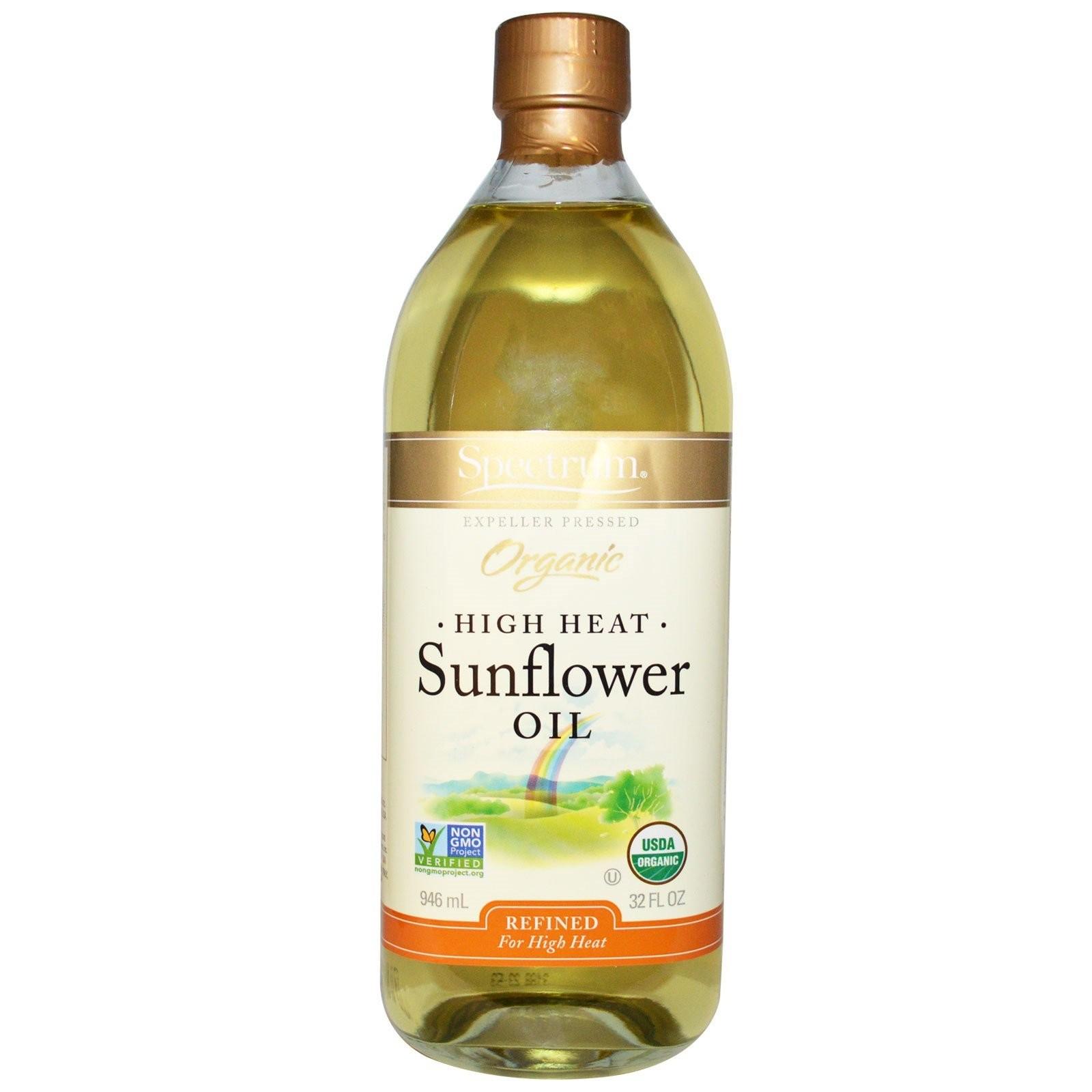 Spectrum Naturals Organic Refined Gluten Free Sunflower Oil, Hi Heat, 16 Oz [3 Pack]