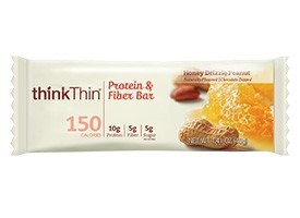 Think Thin Protein and Fiber  Bars, Honey Drizzle Peanut, 1.41 oz [10 Pack]