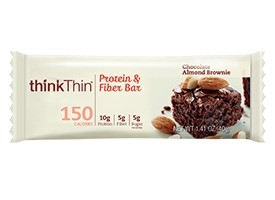 Think Thin Lean Protein and Fiber  Bars, Chocolate Almond Brownie, 1.41 oz [10 Pack]