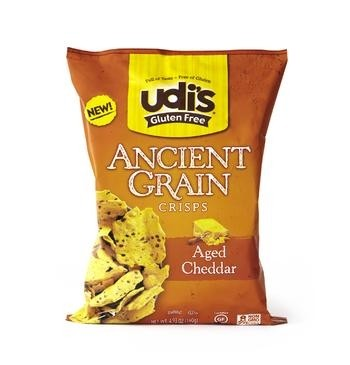 Udi's Gluten Free Ancient Grain Crisps, Aged Cheddar, 4.93 Oz (12 Pack)
