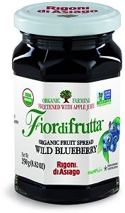 Fiordifrutta Organic Jam Spread, Wild Blueberry, 8.82 OZ ( Case of 6)