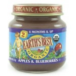 Earth's Best, Stage #2, Gluten Free Second Fruits Strained Apples and Blueberries, 4 Oz Jar (Case of 12)