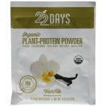 22 Days Nutrition Gluten Free Plant Protein Powder, Organic, Vanilla, .85 oz (Case of 12)