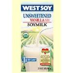 Westsoy Unsweetened Gluten Free Soymilk, Vanilla, 32 Oz. (12 Pack)