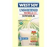 Westsoy Unsweetened Soymilk, Vanilla