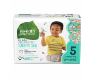 Seventh Generation Baby Diapers, Free and Clear for Sensitive Skin, Size 5, 23 pieces [4 Pack]