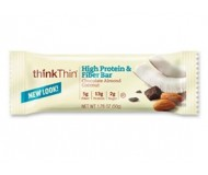 Think Thin High Protein and Fiber  Bars, Chocolate Almond Coconut, 1.76 oz [10 Pack]