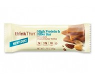 Think Thin High Protein and Fiber  Bars, Chocolate Peanut Butter Toffee, 1.76 oz [10 Pack]