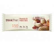 Think Thin Protein & Fiber Bars, Chunky Peanut Butter, 2.1 oz [10 Pack]