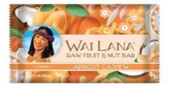 Wai Lana Raw Gluten Free Fruit & Nut Bar, Apricot Cashew, 2 Oz Pack (Case of 12)