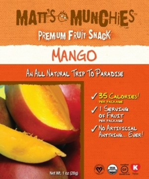 Matt's Munchies, Mango Fruit Snack (Case of 12)