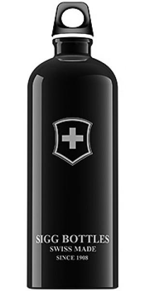 Sigg Water Bottle, Swiss Emblem Black, 1 Liter