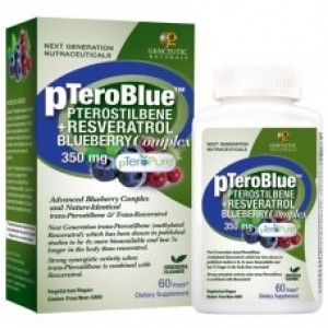 Genceutic Naturals pTeroBlue Pterostilbene Plus Resveratrol - 350 mg - 60 Vcaps