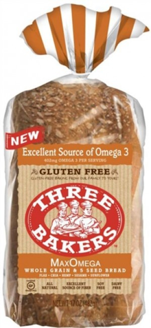 Three Bakers, Max Omega Bread, 17 Oz Loaf
