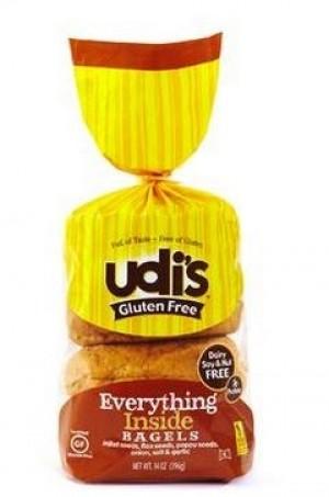 Udi's Gluten Free Everything Inside Bagel, 4 Bagels per Pack
