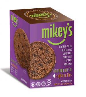 Mikey's Muffins Gluten Free English Muffins, Cinnamon Raisin, 8.8 Oz