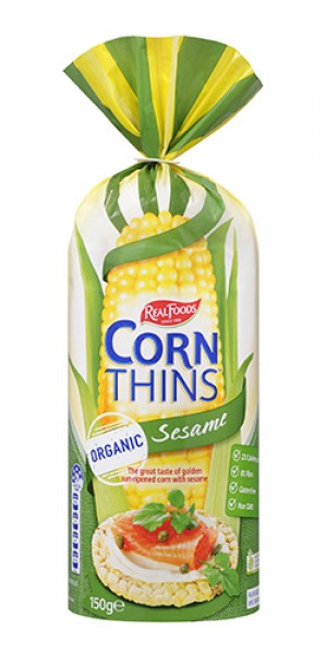 REAL FOODS CORN THINS SESAME ORGANIC