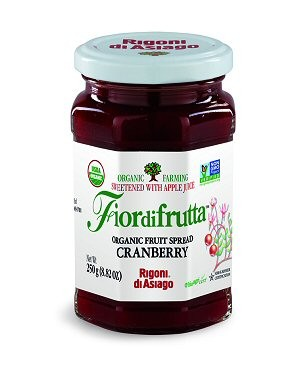 Fiordifrutta Organic Jam Spread, Cranberry, 8.82 OZ  (Case of 6)