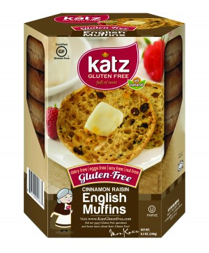 Katz Gluten Free Cinnamon Raisin English Muffins, Case of 6
