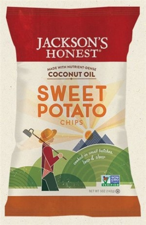 Jackson's Honest Sweet Potato Chips Made with Coconut Oil, 5 Oz (6 Pack)
