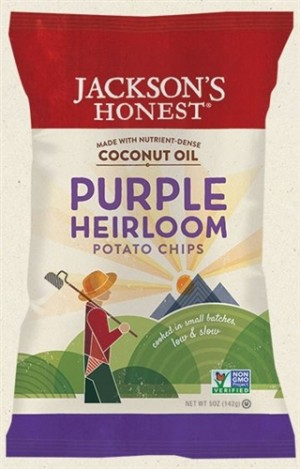 Jackson's Honest Purple Heirloom Potato Chips Made with Coconut Oil, 5 Oz (6 Pack)