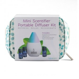 SpaRoom Mini Scentifier Diffuser Bag Kit - USB Powered Portable Essential Oil Diffuser, 6 replaceable absorbing pads, 3 Essential Oils (5 ml each).