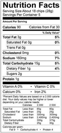 Udi's ancient grain sea salt chips nutrition