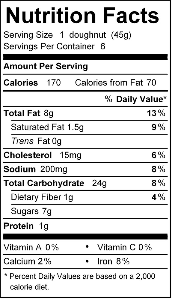 katz chocolate frosted donut nutrition
