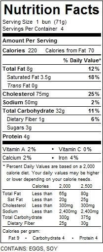 katz hot dog bun nutrition