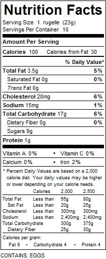 katz cinnamon rugelech nutrition