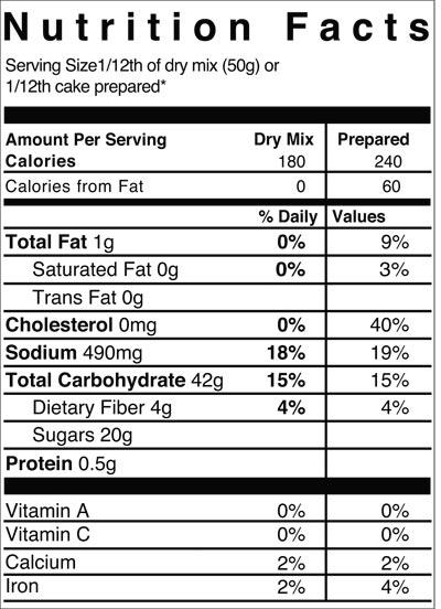 katz vanilla cake mix nutrition