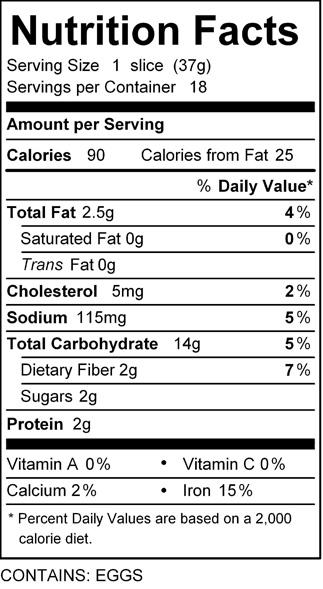 katz wholesome bread nutrition