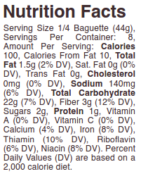 schar parbaked baguettes nutrition
