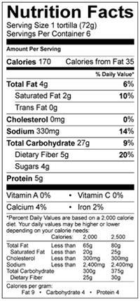 udi's lg tortilla nutrition