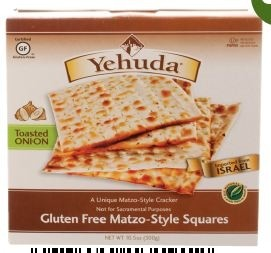 Yehuda Gluten Free Matzo Squares, Toasted Onion, 10.5 Oz Box (Case of 12)